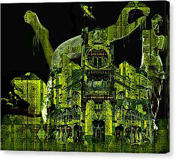 The Biomechanical Statue Garden Of Dr. Buttercup Canvas Print by Laura Fedora