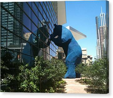 The Blue Bear Of Denver Colorado Canvas Print by Shawn Hughes