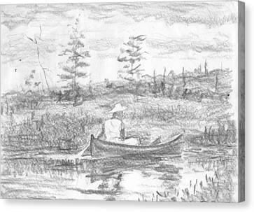 The Blue Canoe Canvas Print by Horacio Prada