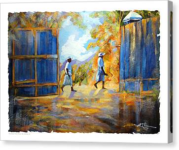 The Blue Gates Of Haiti Canvas Print by Bob Salo