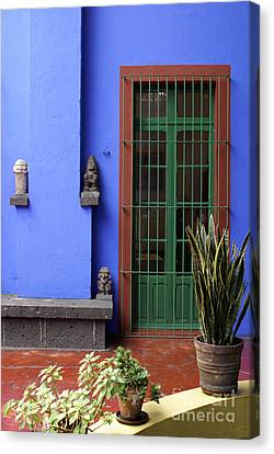 The Blue House Mexico City Canvas Print by John  Mitchell