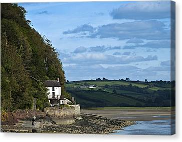 The Boathouse At Laugharne Landscape Canvas Print by Steve Purnell