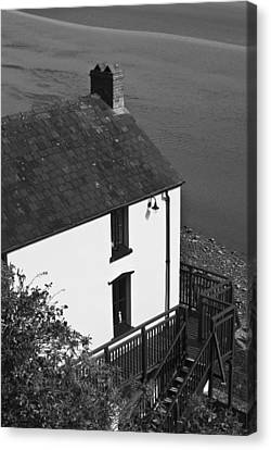 The Boathouse At Laugharne Mono Canvas Print by Steve Purnell
