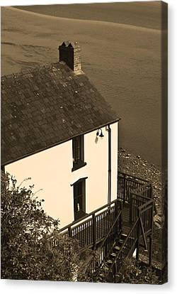 The Boathouse At Laugharne Sepia Canvas Print by Steve Purnell