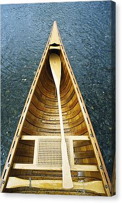 The Bow And Oar Of A Handmade Wooden Canvas Print