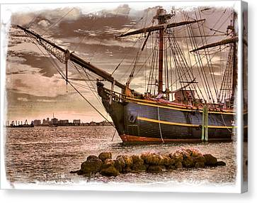 The Bow Of The Hms Bounty Canvas Print by Debra and Dave Vanderlaan