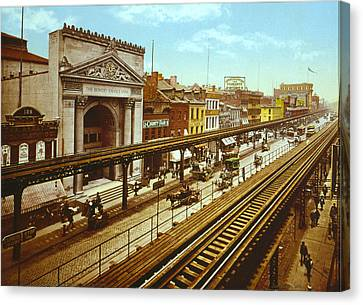 The Bowery Canvas Print - The Bowery, The Third Avenue Elevated by Everett