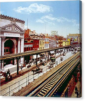 The Bowery Canvas Print - The Bowery With Its Elevated Rail Line by Everett