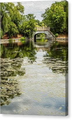 The Bridge On The Pond. Canvas Print