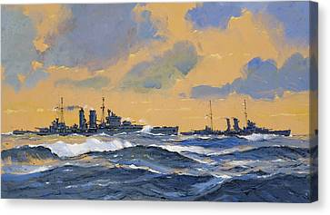 The British Cruisers Hms Exeter And Hms York  Canvas Print by John S Smith