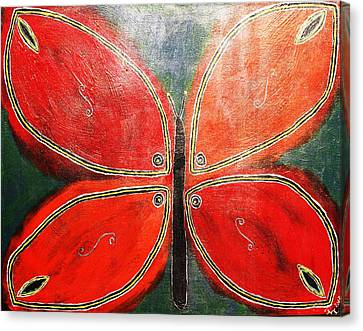 Black Canvas Print - The Butterfly by Paulette Ingersoll