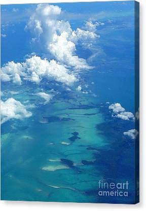 The Caribbean Sea From On High Canvas Print by Anne Gordon
