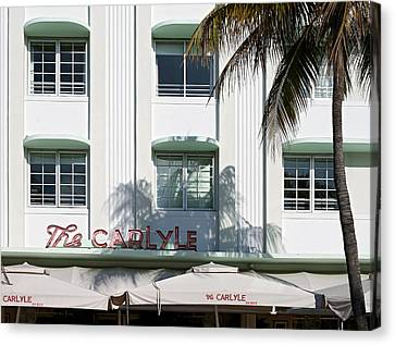 The Carlyle Hotel 2. Miami. Fl. Usa Canvas Print