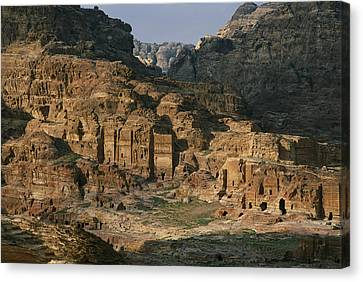 The Caves And Tombs Of Petra, Shown Canvas Print by Annie Griffiths