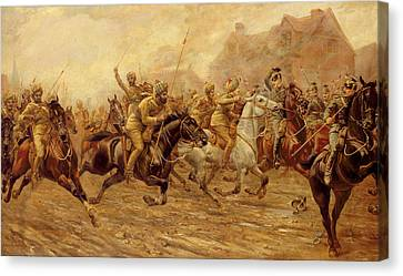 Lancer Canvas Print - The Charge Of The Bengal Lancers At Neuve Chapelle by Derville Rowlandson