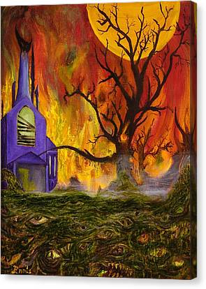 Canvas Print featuring the painting The Church Of Ruin by Christophe Ennis