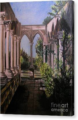 The Cloisters Colonade Canvas Print by Judy Via-Wolff