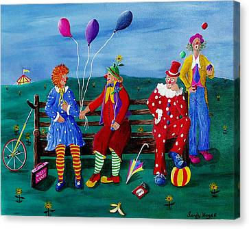 The Clowns Canvas Print by Sandy Wager