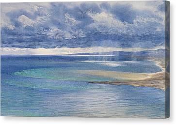 Sun Rays Canvas Print - The Coast Of Sicily From The Taormina Cliffs by John Brett