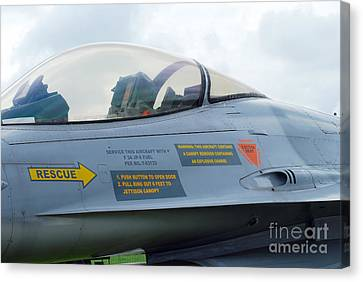 The Cockpit Of An F-16 Fighting Falcon Canvas Print by Luc De Jaeger