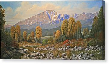 The Color Of August - Pike Peak 111121-3060 Canvas Print by Kenneth Shanika