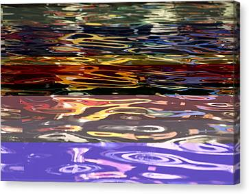 The Colorful Riverwalk Is Reflected Canvas Print by Stephen St. John