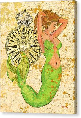 The Compass And The Mermaid Canvas Print by William Depaula