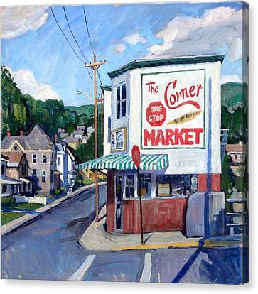 Stop Sign Canvas Print - The Corner Market by Thor Wickstrom