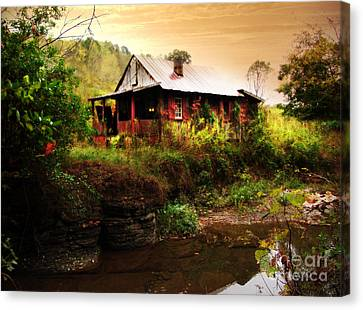 The Cottage By The Creek Canvas Print by Lj Lambert