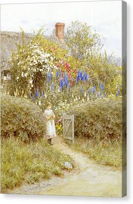 The Cottage Gate Canvas Print by Helen Allingham