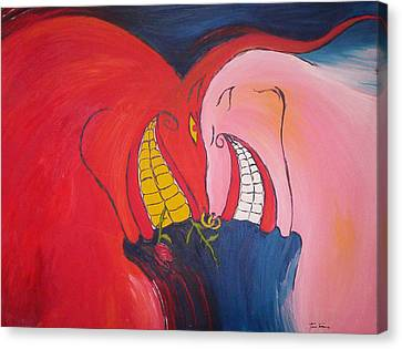 The Courtship Of Diablo And Strawberry Canvas Print by Lee Thompson
