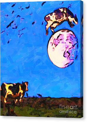 The Cow Jumped Over The Moon . Painterly Canvas Print by Wingsdomain Art and Photography