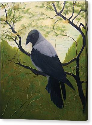 Canvas Print featuring the painting The Crow by Tone Aanderaa