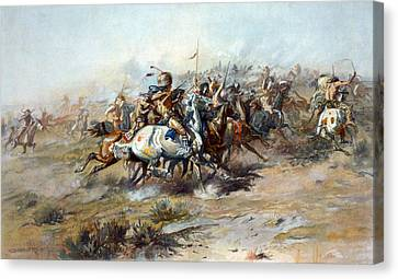 The Custer Fight, The Battle Canvas Print by Everett