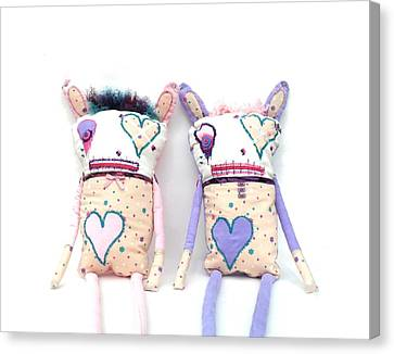 The Cutie Patootie Zombie Bunny Twins Canvas Print by Oddball Art Co by Lizzy Love