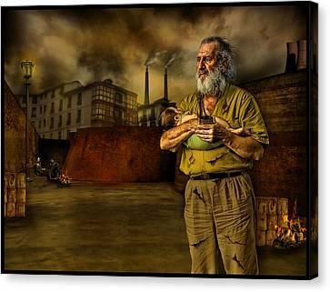 The Bowery Canvas Print - The Dark City's Homeless by Raul Villalba