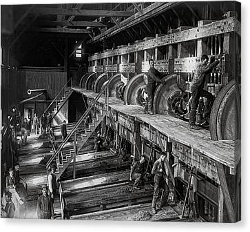 The Deadwood Terra Gold Ore Stamp Mill C. 1888 Canvas Print by Daniel Hagerman