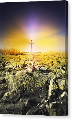 The Death Spot Of St. Cuthbert On Holy Canvas Print by John Short