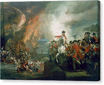 Bay Horse Canvas Print - The Defeat Of The Floating Batteries At Gibraltar by John Singleton Copley