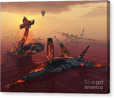 The Destruction Of Fighter Planes Canvas Print