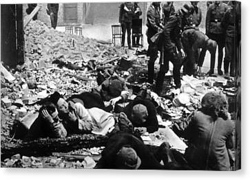 The Destruction Of The Warsaw Ghetto Canvas Print by Everett