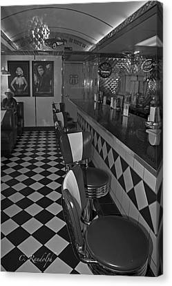 The Diner B And W Canvas Print by Cheri Randolph