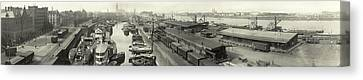 The Docks At Cologne - Germany - C. 1921 Canvas Print by International  Images