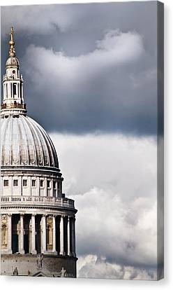 The Dome Of St Paul's Cathedral Against Stormy Sky Canvas Print by Sarah Franklin www.eyeshoot.co.uk
