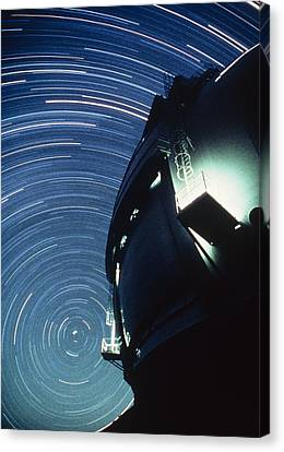 Keck Telescope Canvas Print - The Dome Of The Keck Telescope And Star Trails by Dr Fred Espenak