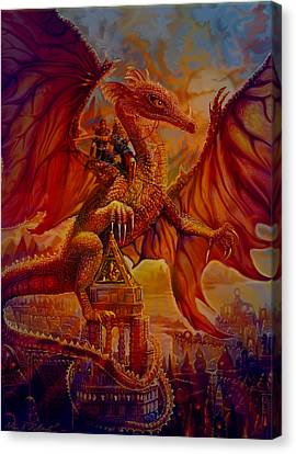 Canvas Print featuring the painting The Dragon Riders by Steve Roberts