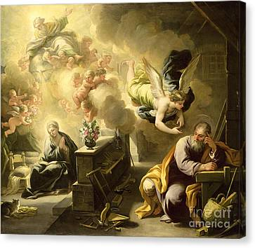 Gabriel Canvas Print - The Dream Of Saint Joseph by Luca Giordano