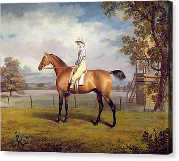 The Duke Of Hamilton's Disguise With Jockey Up Canvas Print by George Garrard
