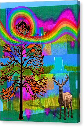 Wildlife Celebration Canvas Print - The Earth Rejoices Series Deer And Basswood by Robin Jensen