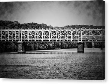 The East Falls Bridge In Black And White Canvas Print by Bill Cannon